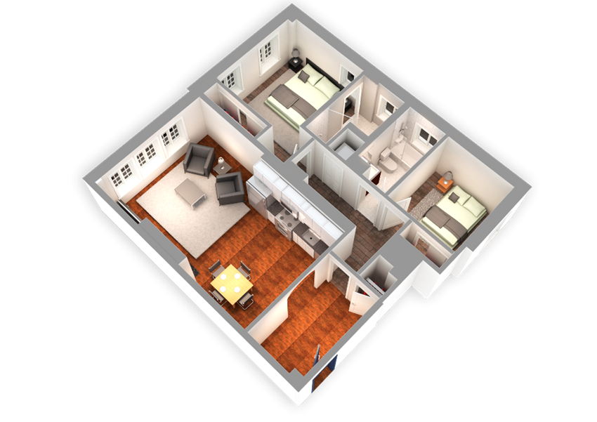 1068 SQFT 2 Bed 2 Bath 3D View at Park Heights by the Lake Apartments, Chicago