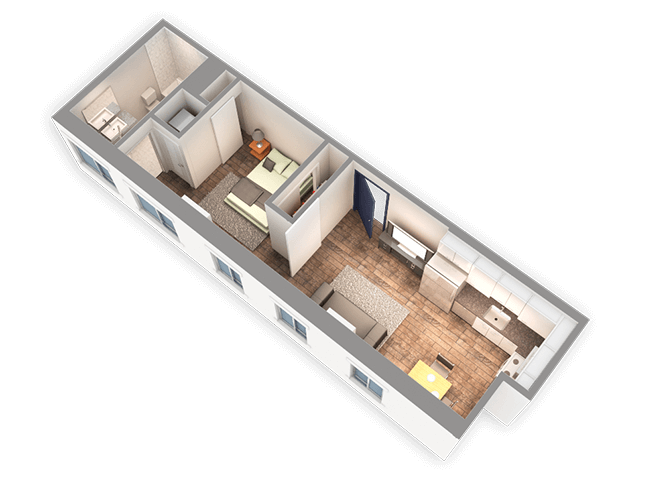 490 SQFT 1 Bed 1 Bath 3D View Floor Plan at Park Heights by the Lake Apartments, Chicago, 60649