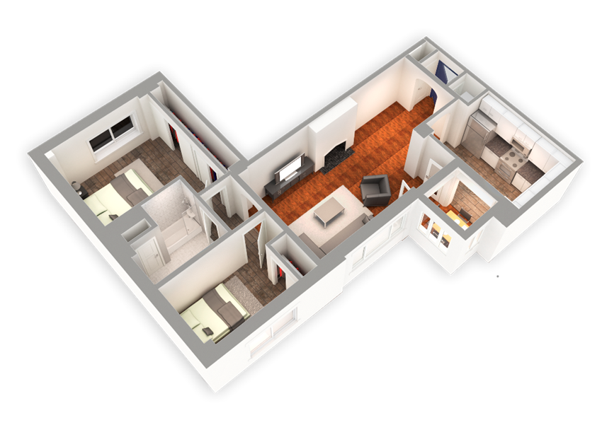 1083 SQFT 2 Bed 1 Bath 3D View at Park Heights by the Lake Apartments, Chicago, IL