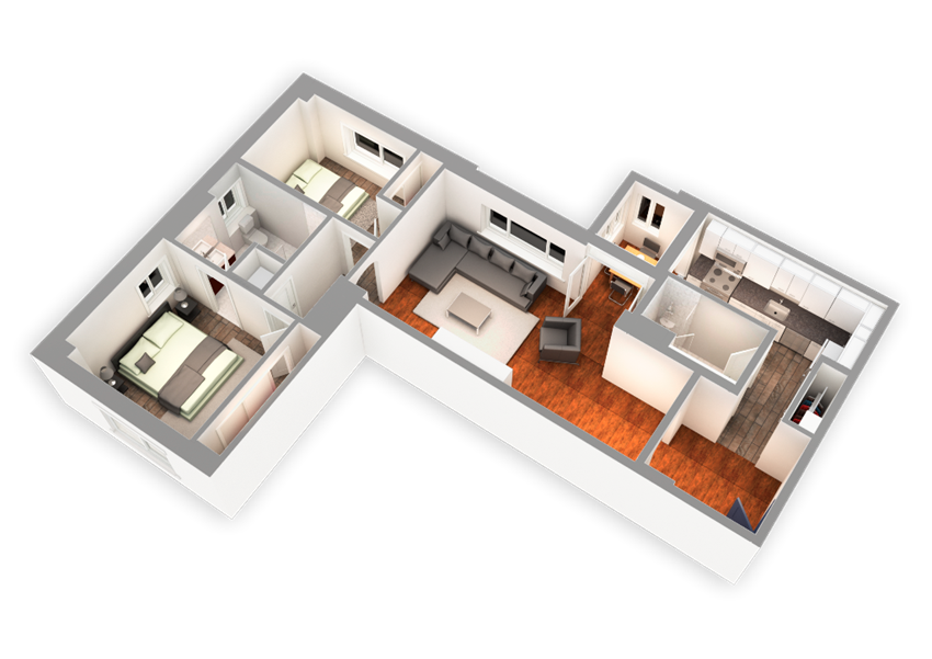 1174 SQFT 2 Bed 2 Bath 3D View at Park Heights by the Lake Apartments, Chicago