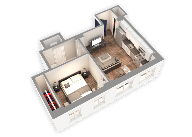 580 SQFT 1 Bed 1Bath 3D Floor Plan at Park Heights by the Lake Apartments, Chicago