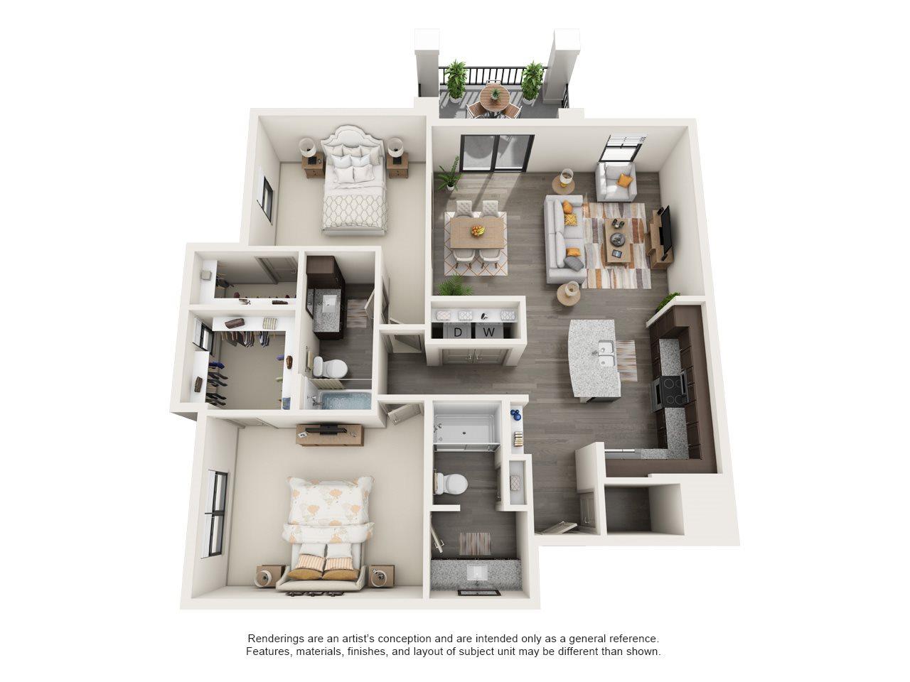 2 Bed 2 Bath (B3 Longleaf) Floor Plan 5