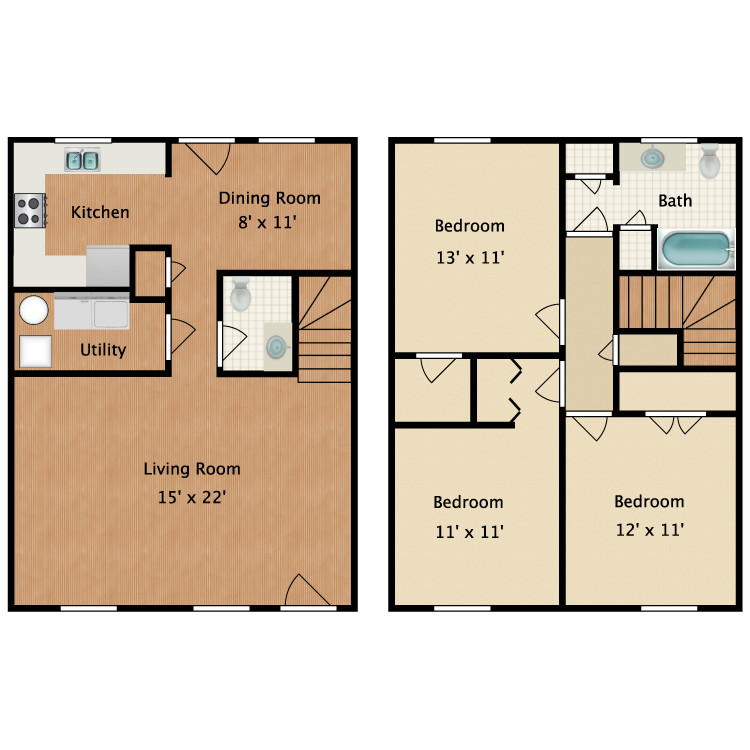 3 Bed 1.5 Bath Without Garage