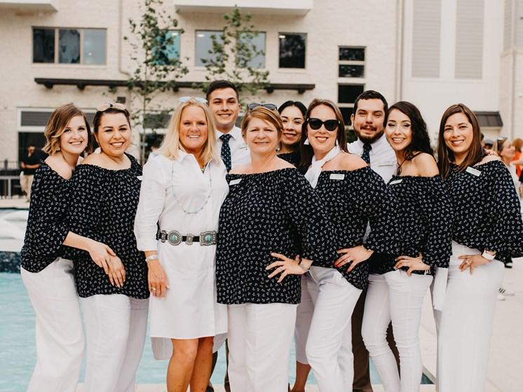 staff at grand opening of san antonio apartment complex