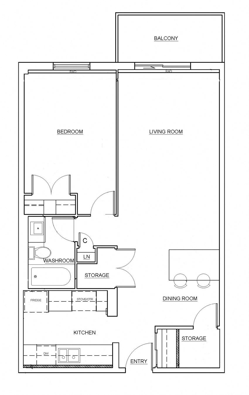 One bedroom, one bathroom apartment layout at Millside Apartments in Milton, ON