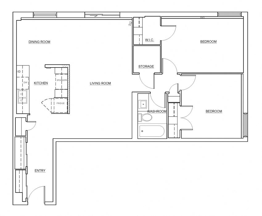 Two bedroom, one bathroom apartment layout at Millside Apartments in Milton, ON