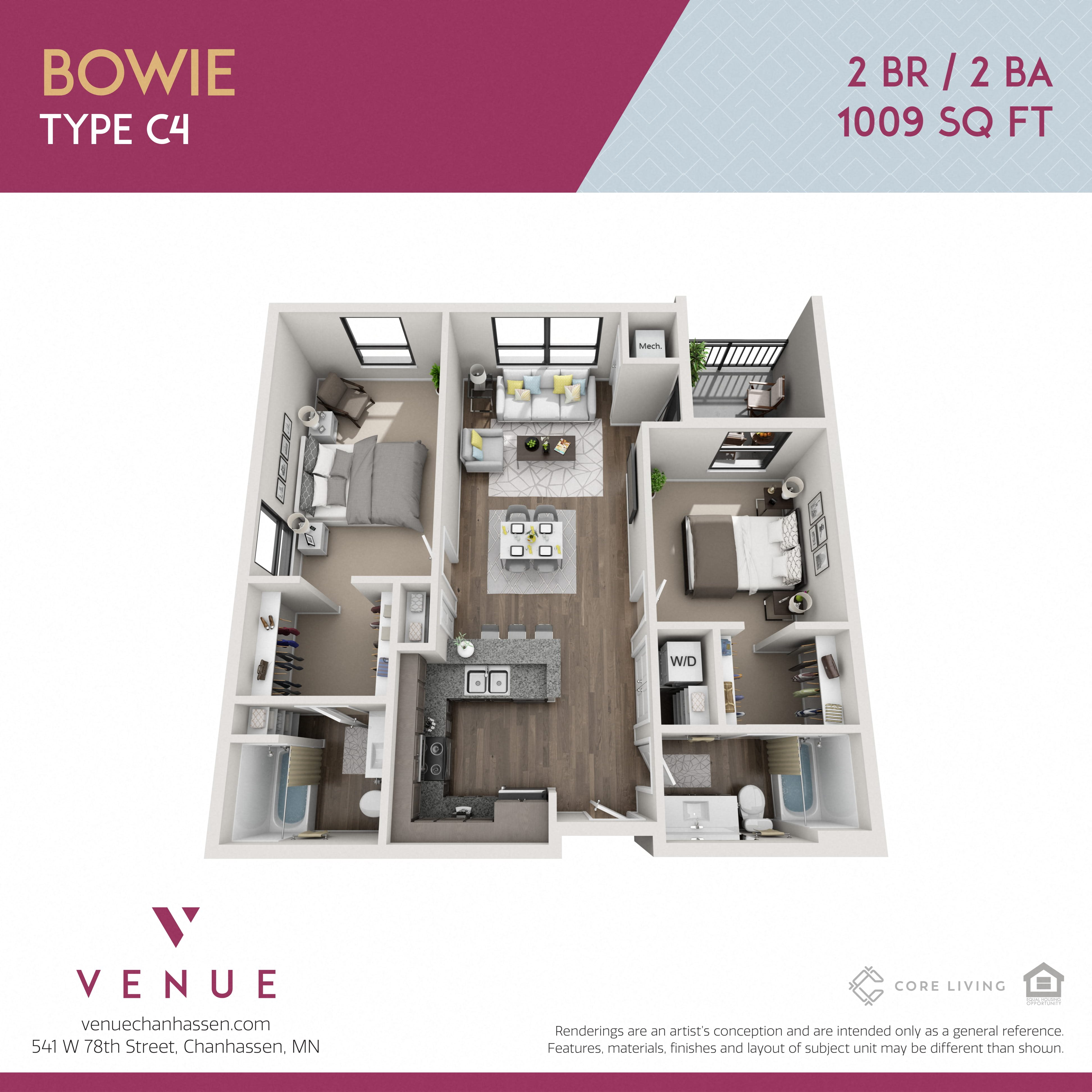 3D 2 Bed Floorplan for Venue Apartments in Chanhassen, MN