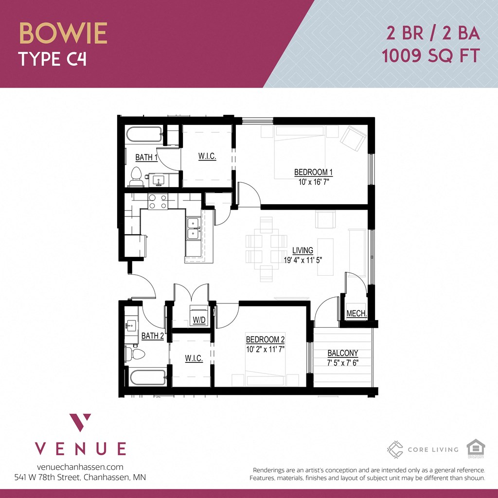 2D 2-Bed Floorplan for Venue Apartments in Chanhassen, MN
