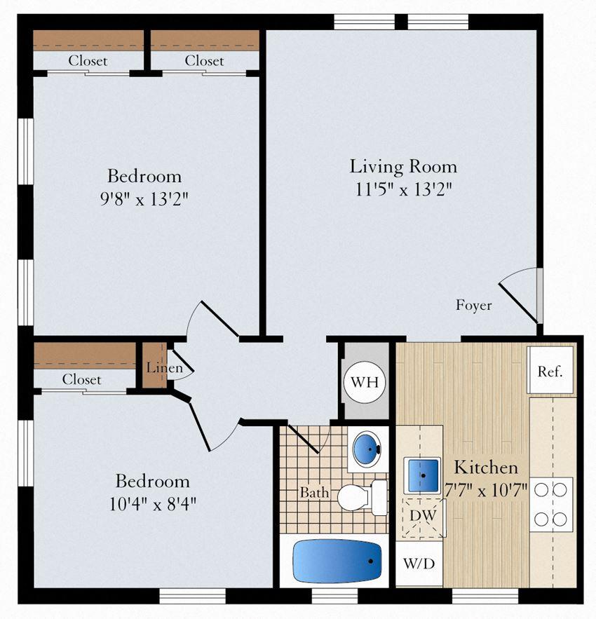 2 Bed 1 Bath B03 Floor Plan at Myerton, Arlington, Virginia