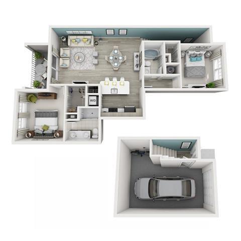 2 Bed 2 Bath Elate (Garage) Floor Plan at Altis Shingle Creek, Kissimmee, FL, 34746