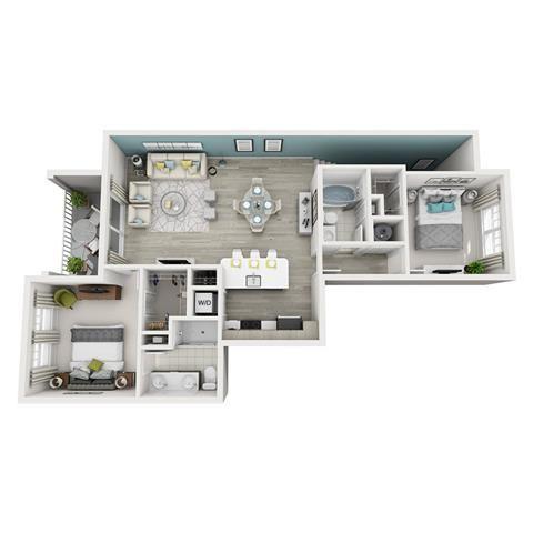2 Bed 2 Bath Elate Floor Plan at Altis Shingle Creek, Florida, 34746