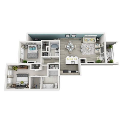 2 Bed 2 Bath Excite Floor Plan at Altis Shingle Creek, Kissimmee, FL