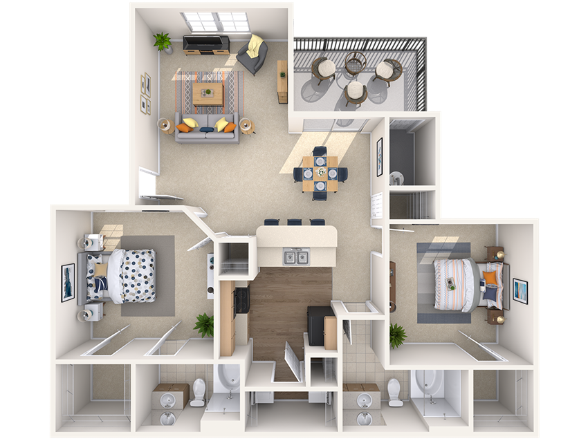 Raleigh, 2 br, 2 ba, 1038 sq. ft.