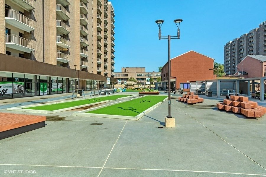 Enjoy Games in The Plaza Like Bocce Ball at Trillium Apartments in Fairfax, VA