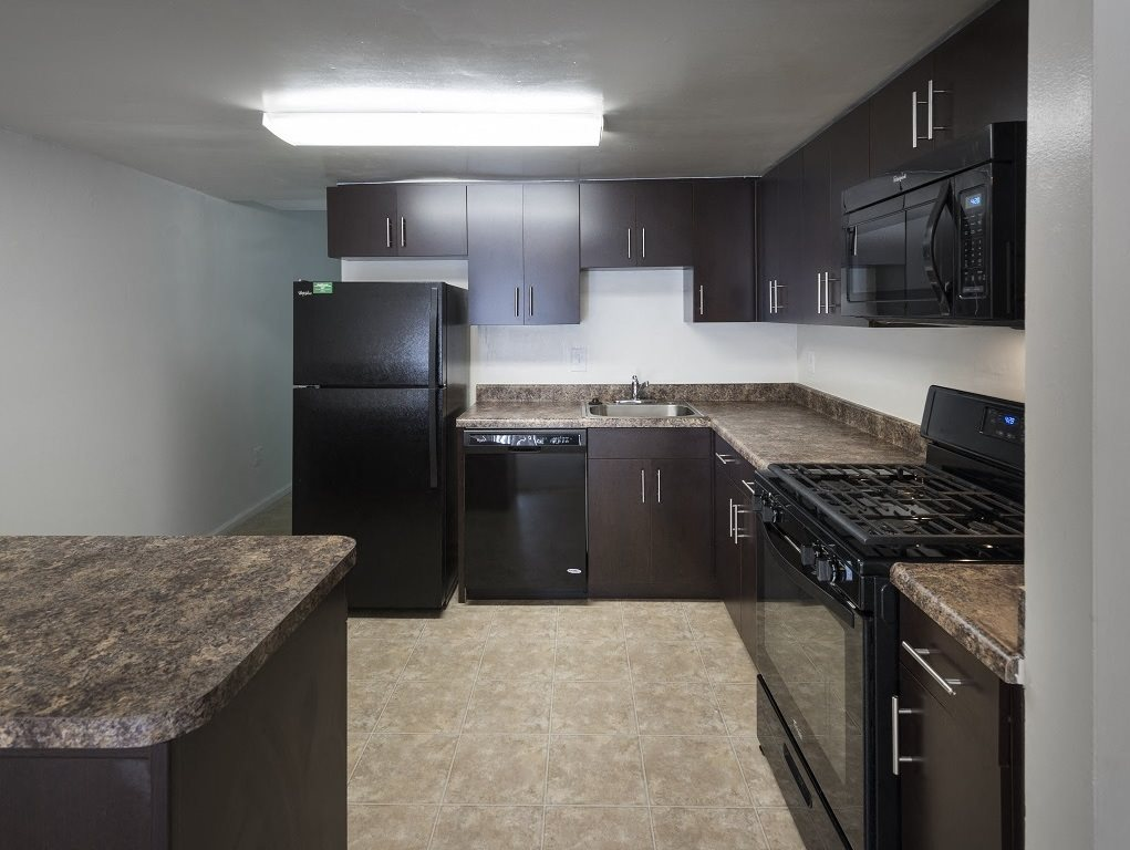 Nicely upgraded kitchen with built in microwave at Circle Towers in Fairfax, VA