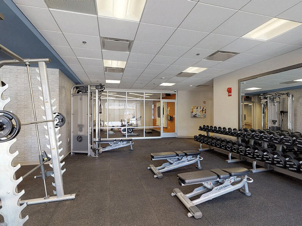 Extensive Lifting Equipment in the Fitness Gym at Trillium Apartments in Fairfax, VA