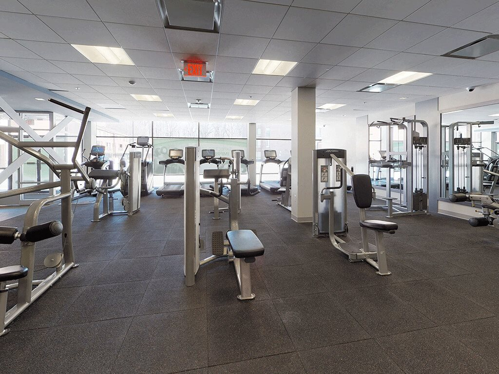 A Variety of Weights and Cardio Equipment in the Gym at Trillium Apartments in Fairfax, VA