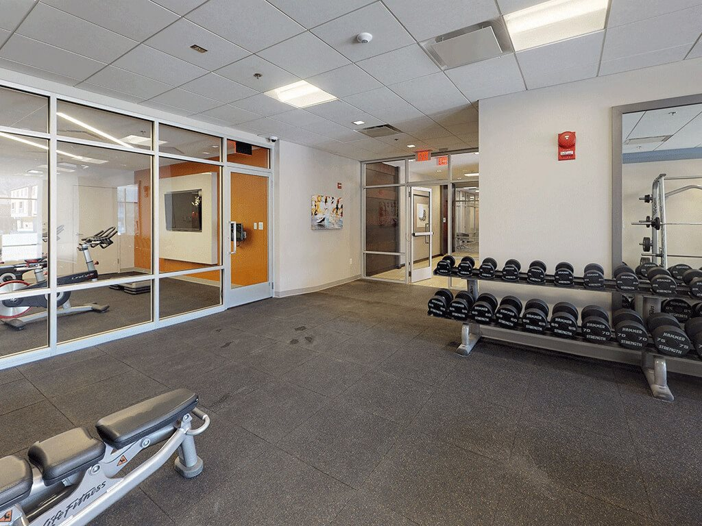 Bright and clean fitness facility
