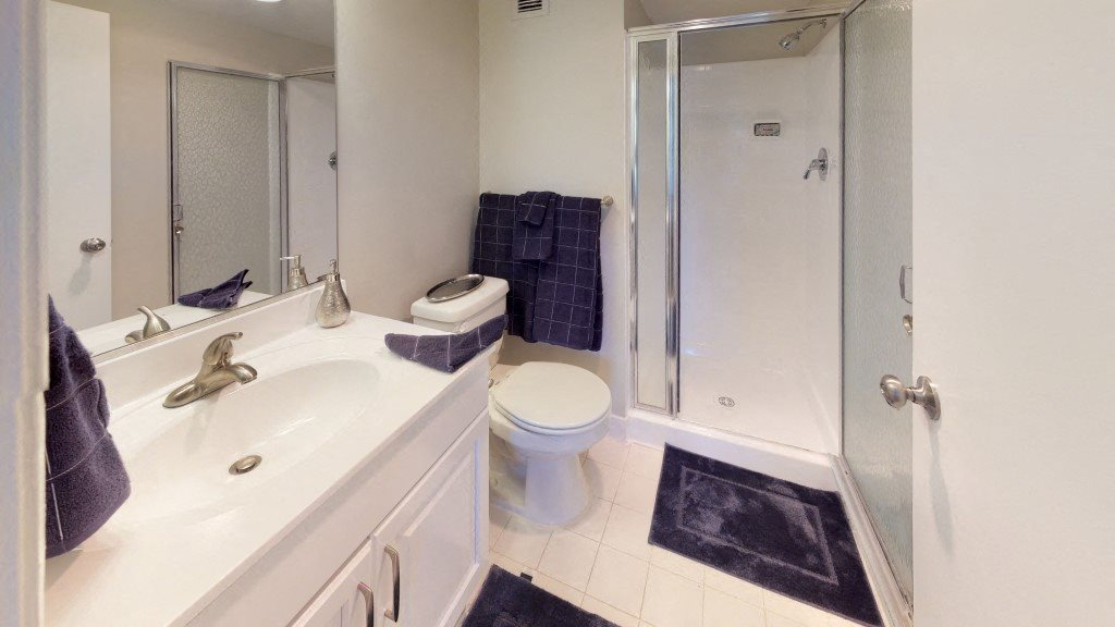 Bathroom and Shower at Trillium Apartments - Apartments in Fairfax, VA