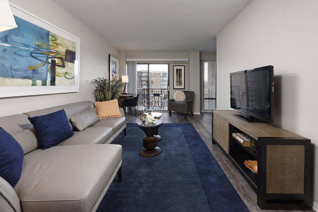 Open Living Area with Large Windows at Circle Towers in Fairfax, VA