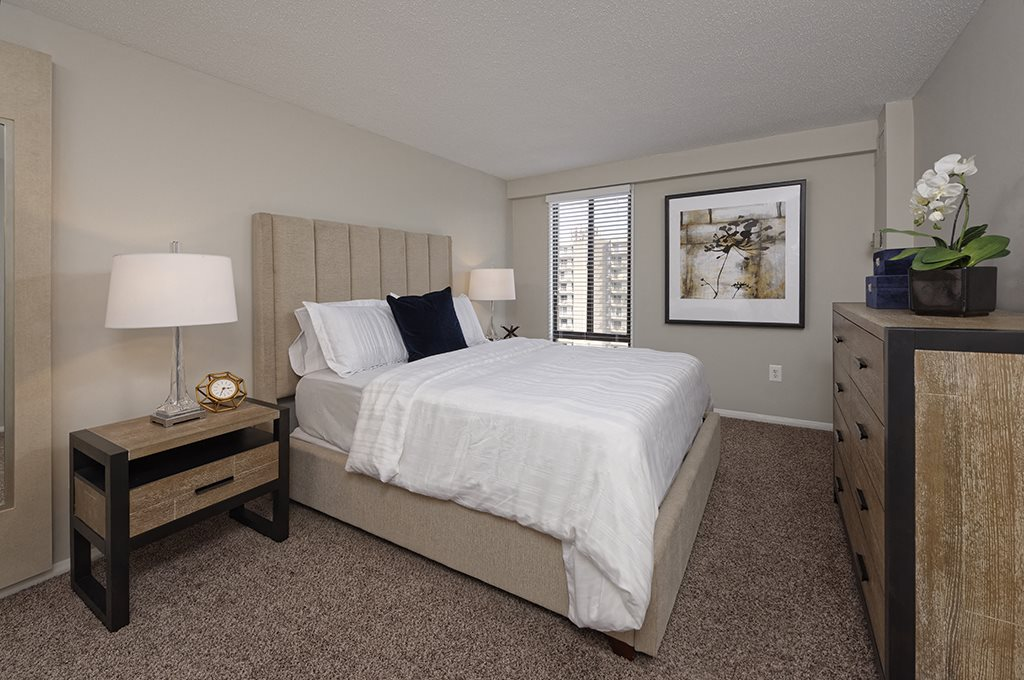 Large bedroom with a large window at Circle Towers in Fairfax, VA