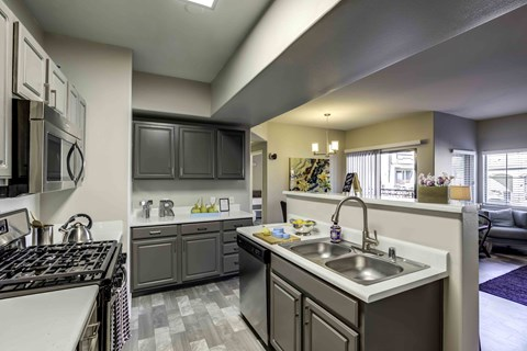 Apartments in Henderson - Tesoro Ranch Kitchen with Matching Stainless Steel Aplliances, Spacious Countertops, and Double Sink