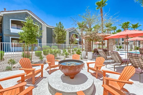 Fire Pit with Coastal Style Tangerine Adirondack Chairs