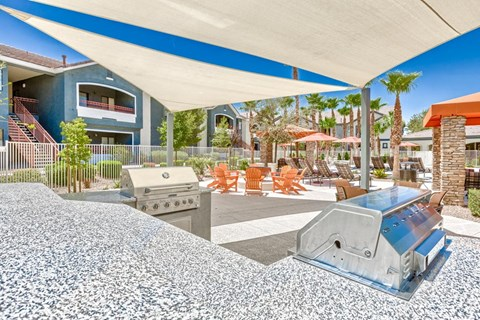 Covered Outdoor Communal Dining Area with Barbecue Grills