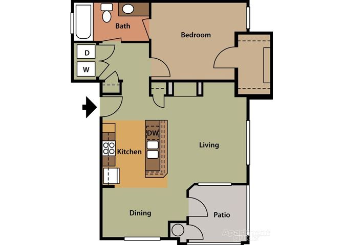 Water Lily, 1 br, 1 ba, 796 sq. ft.