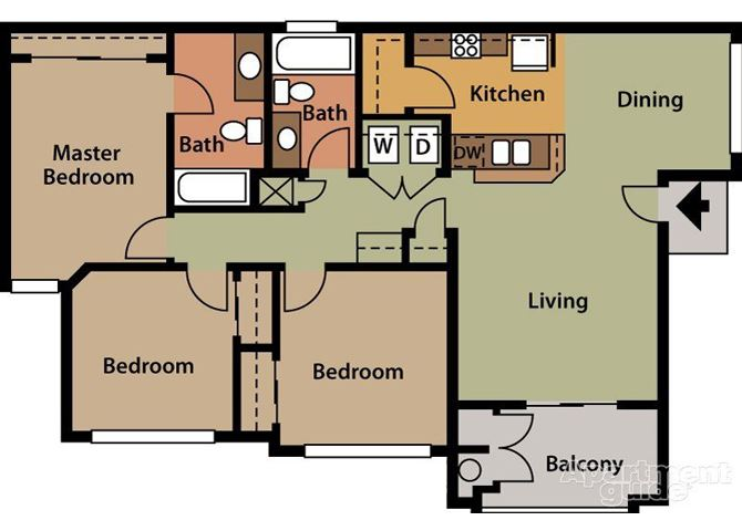 Willow, 3 br, 2 ba, 1250 sq. ft.