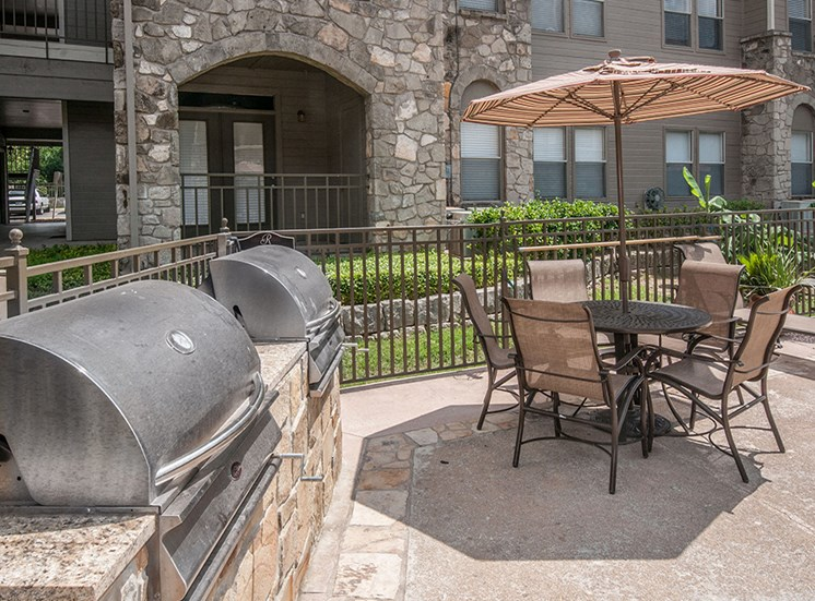 Outdoor barbeques with covered seating area