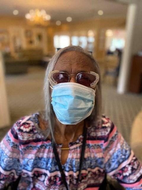 Senior Resident Wearing A Mask at Savannah Court of Bastrop, Louisiana