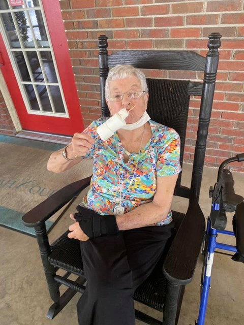 Senior Resident Eating An Ice-cream at Savannah Court of Camilla, Camilla, Georgia
