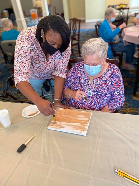 Seniors Doing Art Work at Savannah Court of Camilla, Georgia, 31730