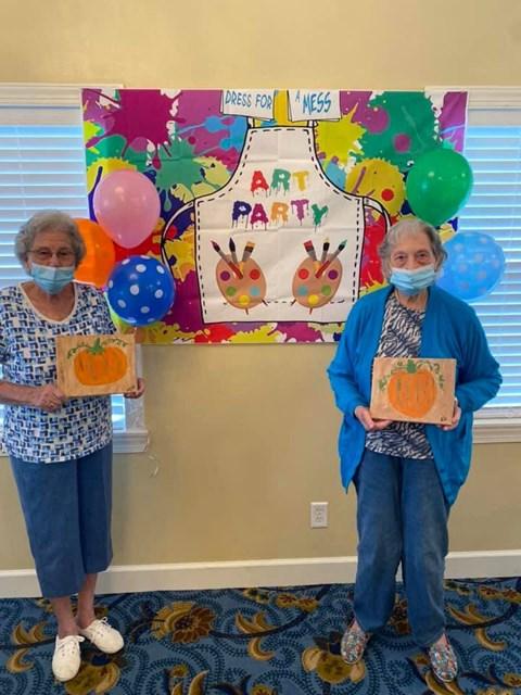 Seniors Celebrating Art Party at Savannah Court of Camilla, Georgia