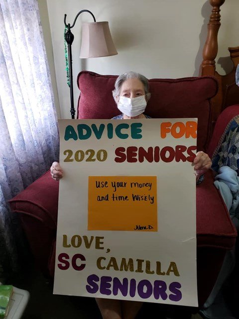 Advice For 2020 Seniors Sign Board at Savannah Court of Camilla, Camilla, GA, 31730