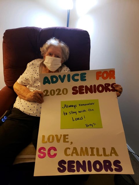 Advice For 2020 Seniors Sign Board at Savannah Court of Camilla, Camilla, GA