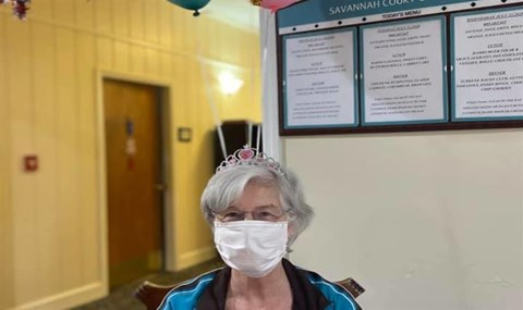 Senior Resident Wearing A Mask at Savannah Court of Camilla, Camilla, 31730