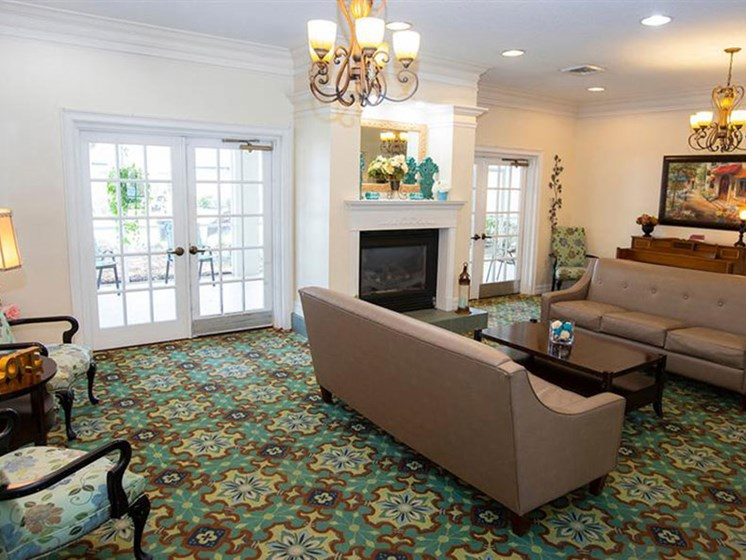 Clubhouse With Fireplace at Savannah Court of Orange City, Orange City, Florida