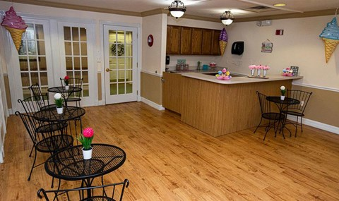 Clubhouse Kitchen Breakfast Bar with Stools at Savannah Grand of Maitland, Florida