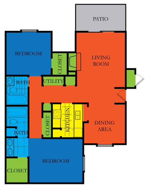 2 Bed 2 Bath C1 Floor Plan at Casa Del Sol, Houston