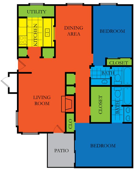 2 Bed 2 Bath C2  Floor Plan at Casa Del Sol, Texas