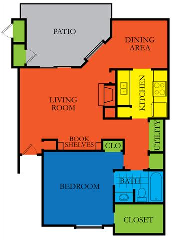 1 Bed 1 Bath A Floor Plan at Casa Del Sol, Houston