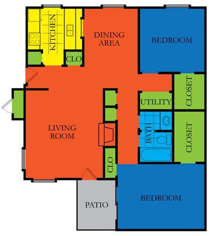 2 Bed 2 Bath B1 Floor Plan at Casa Del Sol, Houston, 77099