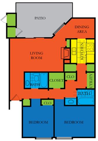 2 Bed 2 Bath C Floor Plan at Casa Del Sol, Houston, TX
