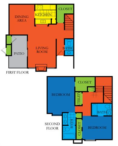 2 Bed 2.5 Bath D  Floor Plan at Casa Del Sol, Houston, TX, 77099
