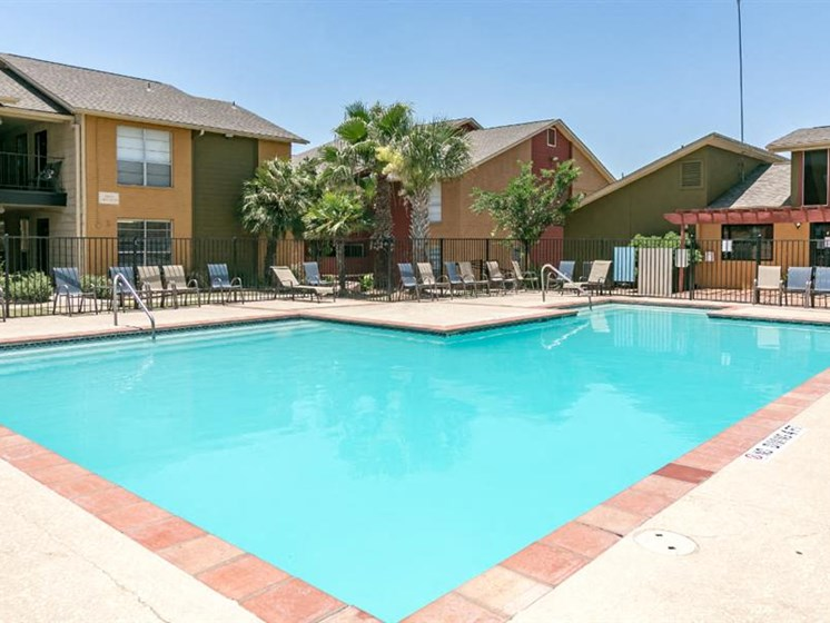Pool Side Relaxing Area at City-Base Vista, San Antonio, 78223