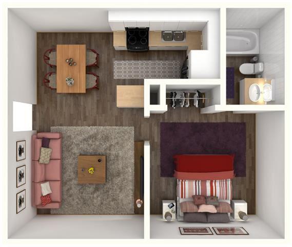1 Bed 1 Bath ELLINGTON Floor Plan at City-Base Vista, San Antonio, TX