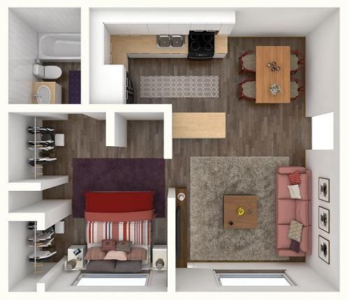 1 Bed 1 Bath KELLY Floor Plan at City-Base Vista, San Antonio, TX, 78223
