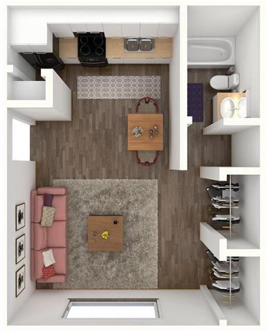 1 Bed 1 Bath LACKLAND Floor Plan at City-Base Vista, San Antonio, 78223